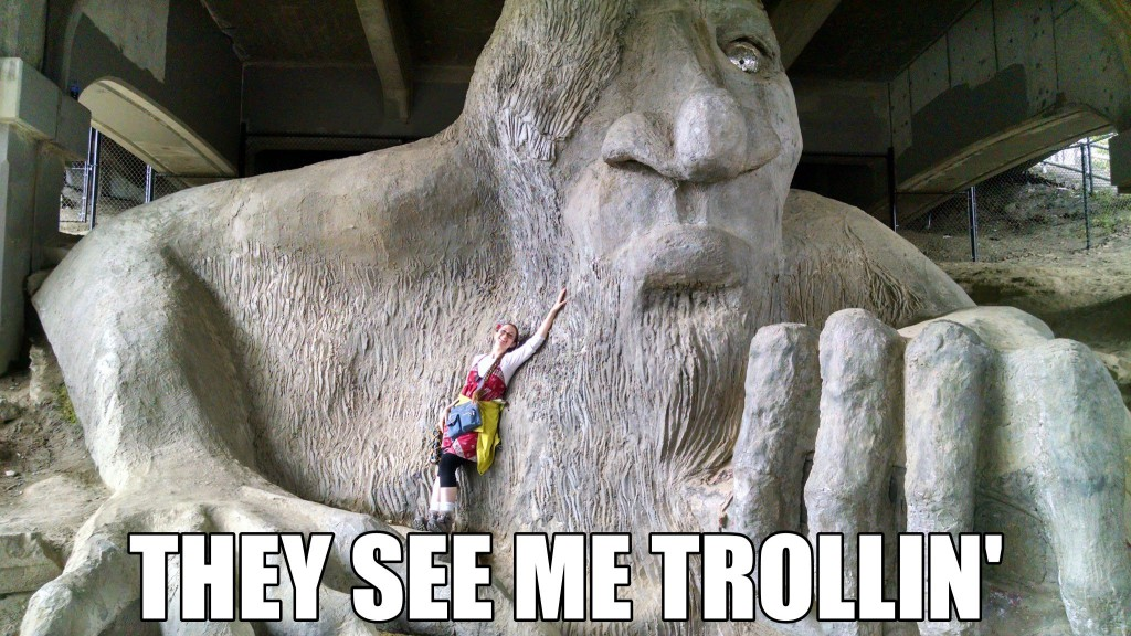 Kristen with the Fremont Troll